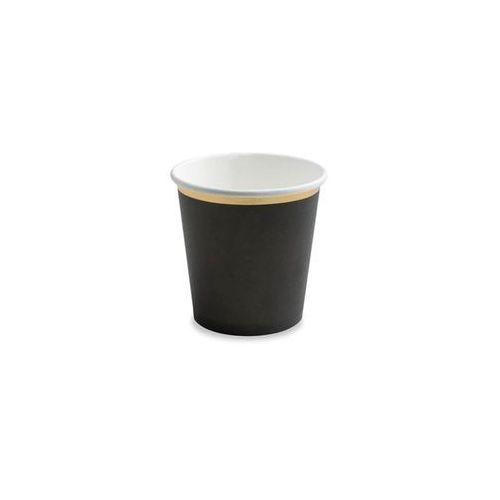 Kubeczki czarne ze złotym brzegiem - 100 ml - 6 szt. marki Party deco