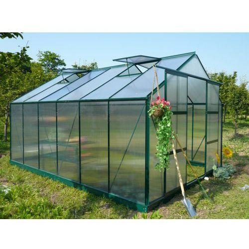 Vente-unique Szklarnia ogrodowa z poliwęglanu o pow. 13 m² kalida z podstawą - zielona