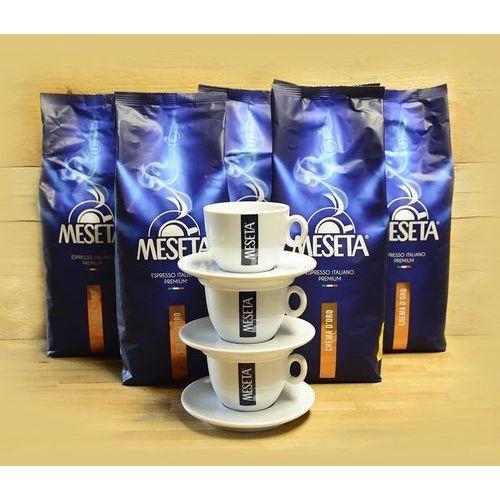 Zestaw promocyjny 5kg kawy crema d'oro + 3 filiżanki meseta cappuccino marki Meseta