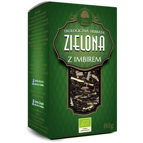 Herbata zielona cejlońska z imbirem liściasta bio 80 g dary natury marki Dary natury - herbatki bio