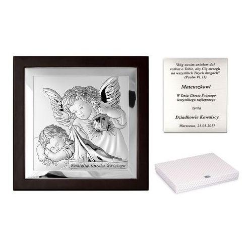 Murrano Obrazek srebrny marone anioł stróż 19cm grawer pr364
