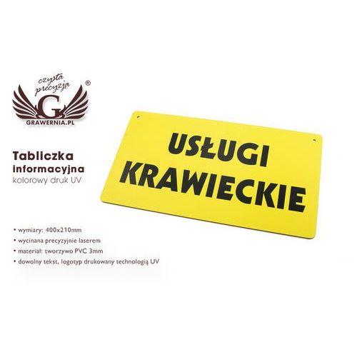 Grawernia.pl - grawerowanie i wycinanie laserem Tabliczka informacyjna z dowolnym tekstem - wym. 400x210mm - pvc - kolorowy druk uv
