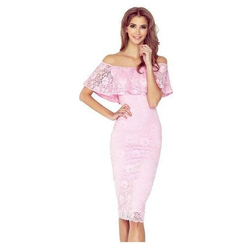 Numoco Różowa koronkowa sukienka hiszpanka