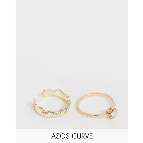 ASOS DESIGN Curve pack of 2 rings with faux stone and crystal wave design in gold - Gold