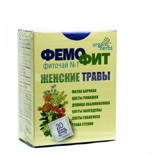 Herbata Ziołowa Femofit nr 1 (Gruszynka, Rumianek, Oregano, Nagietek, Hibiskus, Stewia), 20 Saszetek