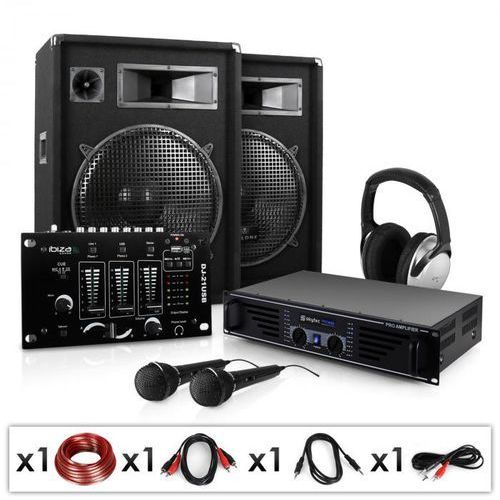 """""""Basstigall USB"""" Zestaw DJ-ski PA 1600W wzmacniacz mikrofony"""