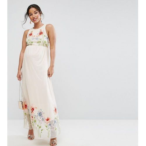 embroidery mesh maxi dress - pink marki Asos maternity