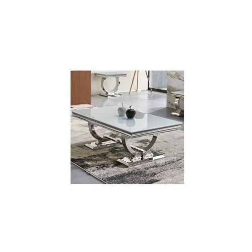 Ława glamour Modena - stal blat szklany nowoczesny (5908273397252)