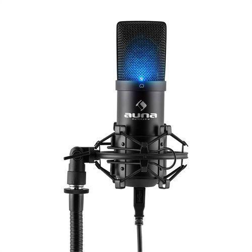 mic-900b-led usb mikrofon pojemnościowy czarny studyjny led marki Auna
