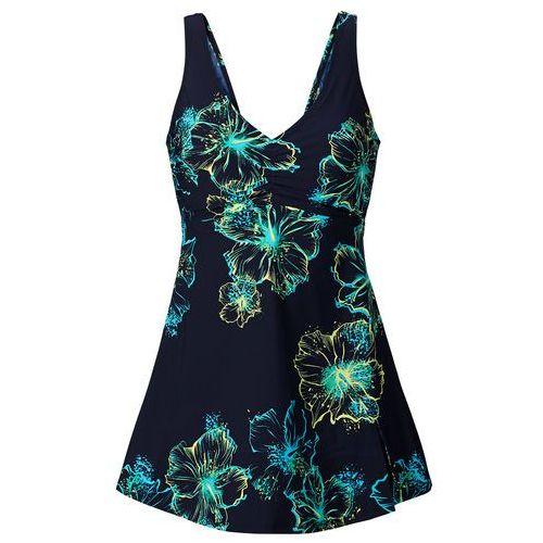Sukienka kąpielowa wyszczuplająca ciemnoniebiesko-turkusowy marki Bonprix