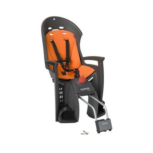 Fotelik rowerowy siesta ciemnoszary, pomarańczowa wyśćiółka, stelaż na małą ramę marki Hamax