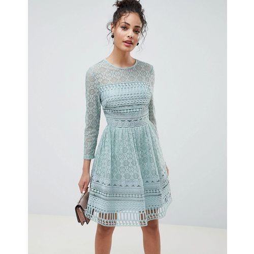 design premium lace mini skater dress - green marki Asos