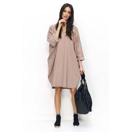 35d20812a4 Cappuccino sukienka bombka z rękawem 3 4 marki Makadamia 118