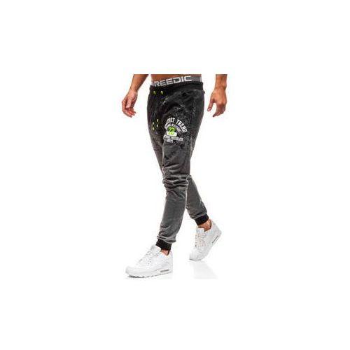 Spodnie męskie dresowe joggery grafitowe Denley KK502