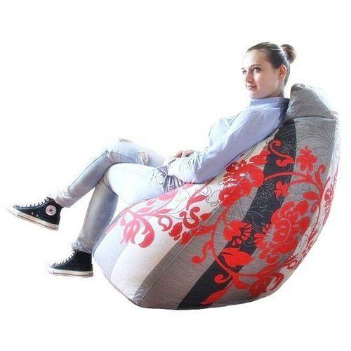 relaksacyjny FUNNY XXL - wzór w szare pasy i stylizowane czerwone kwiaty z kategorii fotele