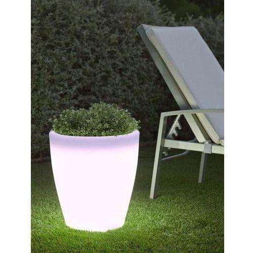 donica violeta 40 solar biała - led, sterowanie pilotem marki New garden