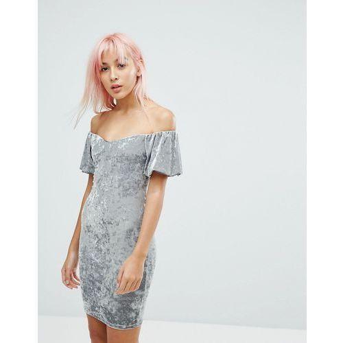 New Look Crushed Velvet Bardot Bodycon Dress - Multi