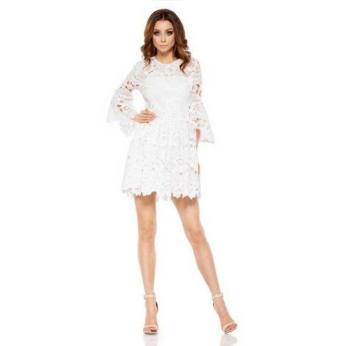 Ecru Wieczorowa Sukienka Koronkowa z Rozkloszowanym Rękawem, GL262ecr