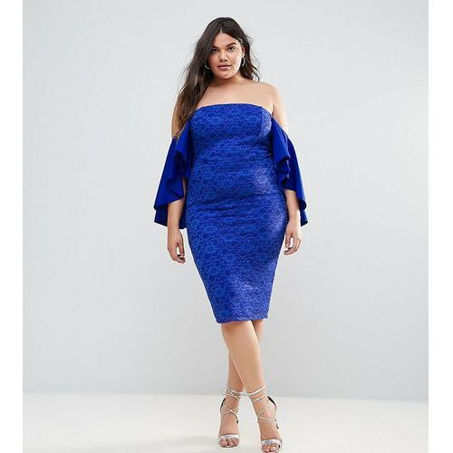 ASOS CURVE Lace Bardot Midi Dress With Extreme Sleeves - Blue