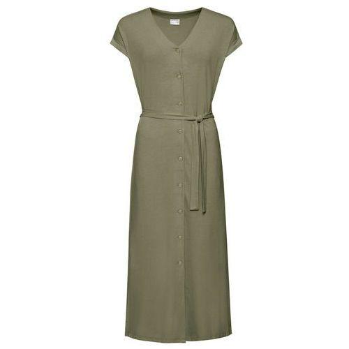 Sukienka z rękawami 3/4 bonprix czarny, kolor zielony
