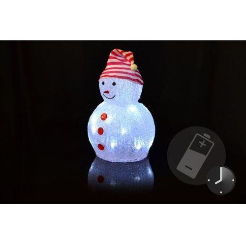 Świąteczna dekoracja - akrylowy bałwan - zimny biały,