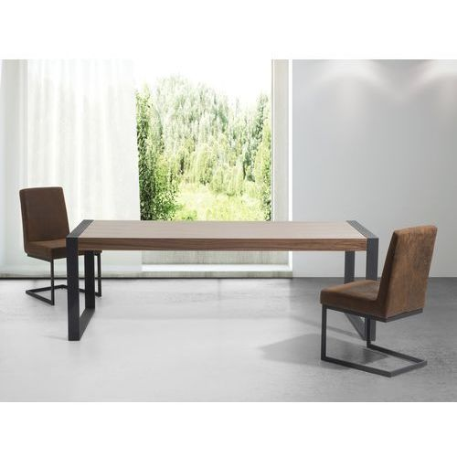 Stół - brązowy - 220 cm - kuchenny - do jadalni - czarne nóżki - POLAR ze sklepu Beliani