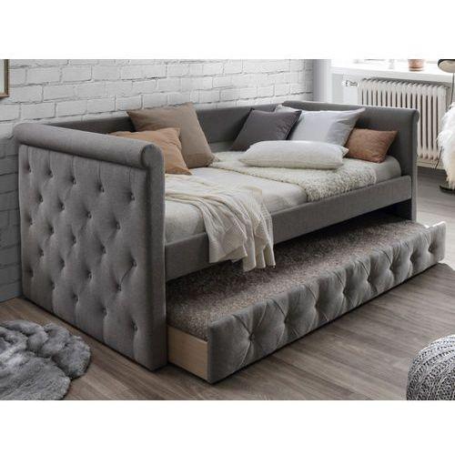 Łóżko wysuwane pikowane louise - 2 × 90 × 190 cm - szara tkanina marki Vente-unique