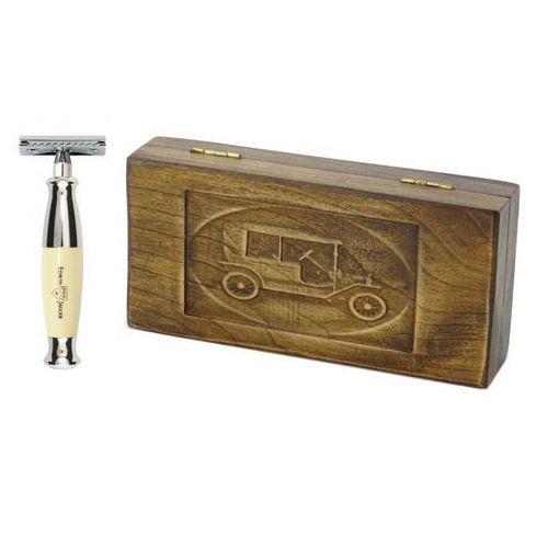 Zestaw prezentowy retro samochód - maszynka ej kość słoniowa, w drewnianym pudełku marki Margo