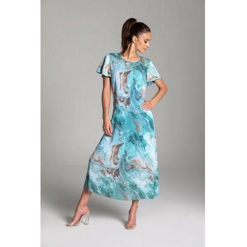 Długa letnia sukienka trapezowa z szyfonu w kolorze turkusowym z krótkim rękawem typu motylek - kolekcja turkusowe morze, Tarionus s.c.
