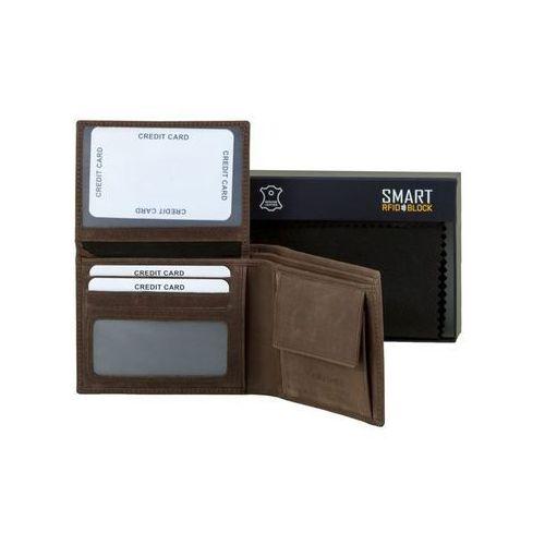 ✅ Bezpieczny Męski Portfel Na Karty Zbliżeniowe RFID Skórzany Brązowy - Brąz mat (5903111394004)