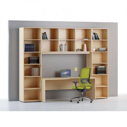 Biblioteka INTEGRO wyższe, 2300 x 600 x 400 mm, 5 półek, dąb naturalny