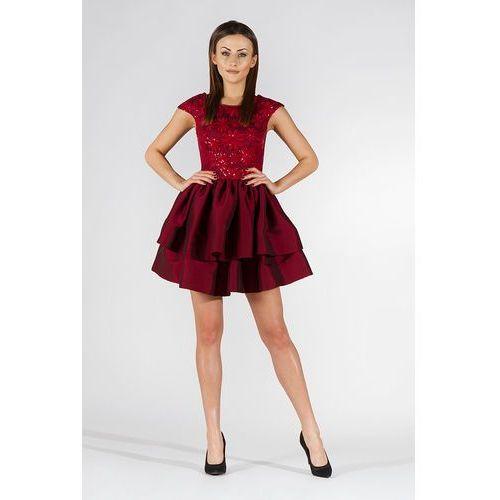 Bordowa Sukienka Wieczorowa z Tafty i Koronki, 1 rozmiar