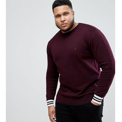 French Connection PLUS Crew Neck Knitted Jumper with Contrast Cuff - Red