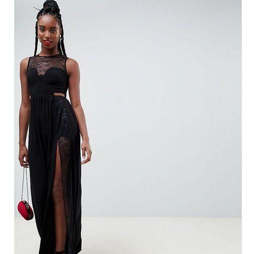 Asos design tall lace insert slinky maxi dress - black marki Asos tall
