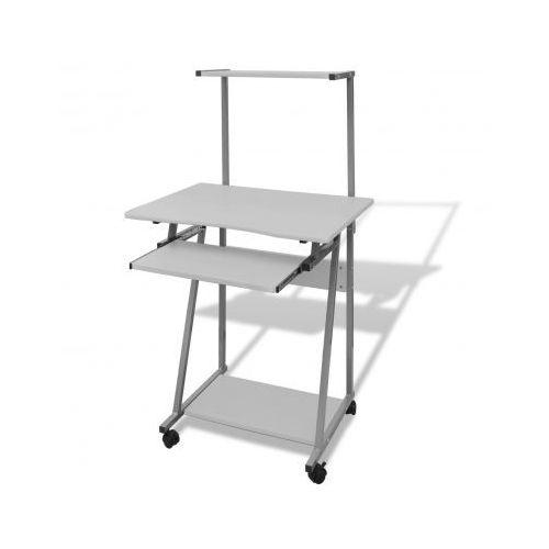 Biurko komputerowe z ruchomą półką na klawiaturę (Białe) - sprawdź w VidaXL