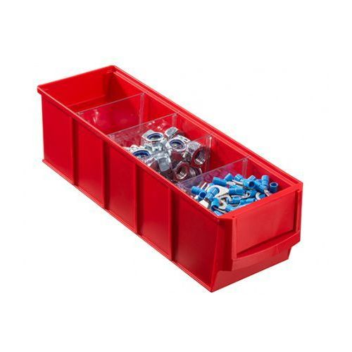 Plastikowy pojemnik do regału shelfpoj., 91 x 300 x 81 mm, czerwony marki Allit