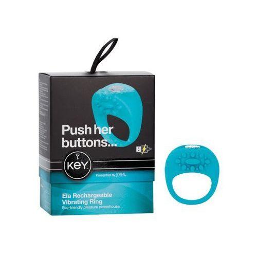 Wibrujący pierścień na penisa - Key by Jopen Ela Cock Ring niebieski - produkt z kategorii- sztuczne członki i pochwy