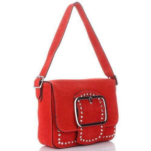 f1d7ac915eef6 Vittoria Gotti Modne Torebki Skórzane Listonoszki Made in Italy z Nitami w stylu  Glamour Czerwone (kolory), kolor czerwony 249,00 zł Ta skórzana listonoszka  ...