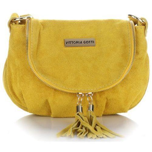 35c8265faa09b Modne Włoskie Torebki Skórzane Listonoszki w całości wykonane z Zamszu  Naturalnego Vittoria Gotti Żółte (kolory) 99