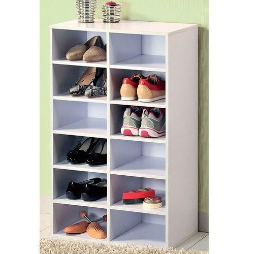 Wysoka szafka na buty z drewna malowana na biało, regał na buty, szafka na buty do przedpokoju, komoda na buty, drewniana szafka na buty, Kesper