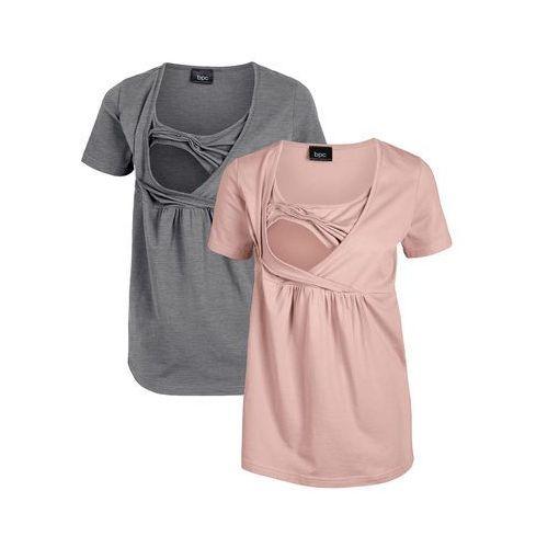 Shirt ciążowy i do karmienia bonprix stary jasnoróżowy - szary melanż, kolor różowy