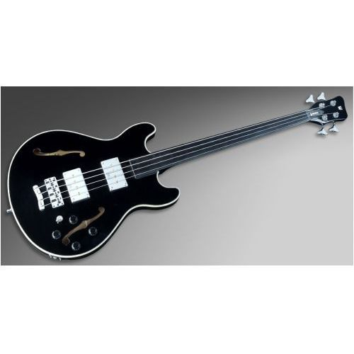 star bass maple 4-string, solid black high polish, fretless - medium scale gitara basowa marki Rockbass