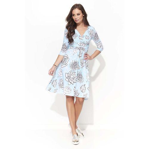 Wizytowa Sukienka w Kwiatowy Wzór z Kopertowym Dekoltem - Wzór 3, w 4 rozmiarach