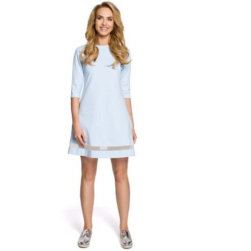 Błękitna Klasyczna Sukienka Trapezowa z Siatkowym Panelem