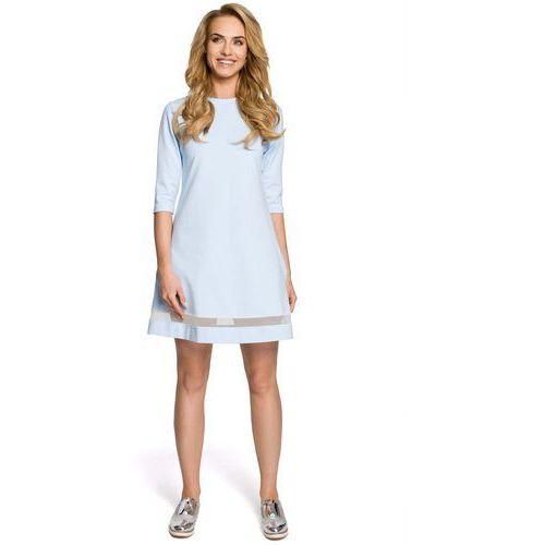 Błękitna Klasyczna Sukienka Trapezowa z Siatkowym Panelem, kolor niebieski