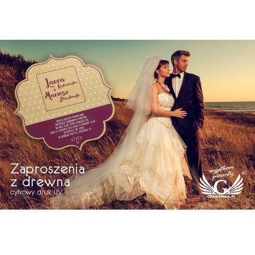 Zaproszenia ślubne z drewna - cyfrowy druk uv - zap002 marki Grawernia.pl - grawerowanie i wycinanie laserem