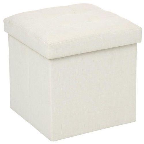 Składana pufa ze schowkiem, podnóżek, pojemnik z pokrywą - 2 w 1, kolor kremowy