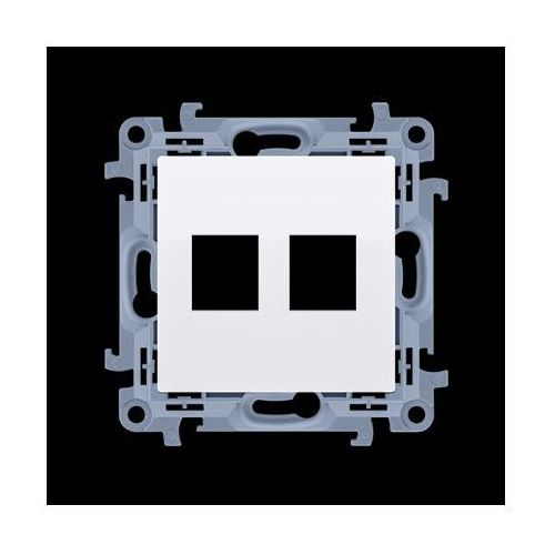 Pokrywa gniazd teleinformatycznych na Keystone płaska podwójna (moduł); biały