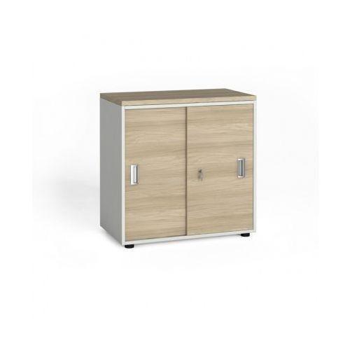 Szafa biurowa z przesuwnymi drzwiami, 740x800x420 mm, biały / dąb naturalny marki B2b partner