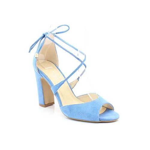 KOTYL 5901 BŁĘKITNE - Taneczne sandałki ślubne - Niebieski, kolor niebieski